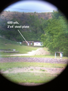 Here's what a 2'x4' steel plate looks like through my scope at 600 yards.